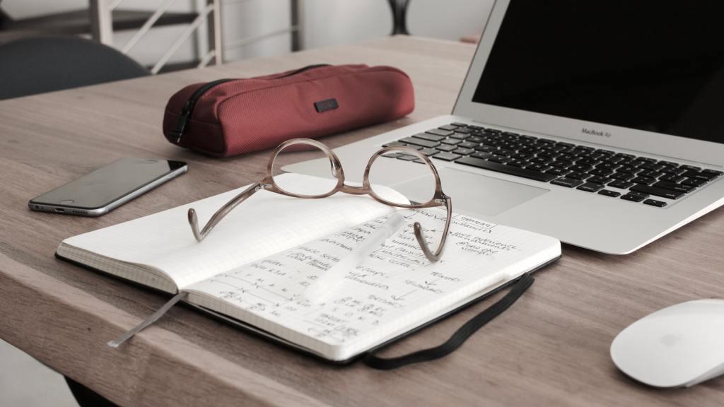 Desk of a writer, editor, or proofreader.